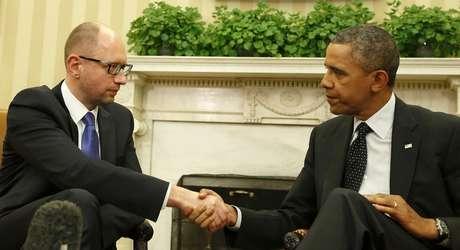 <p>Obama garantiu apoio à Ucrânia e integridade territorial do país. Premiê agradeceu ao governo e ao povo amaericano pelo apoio na tarde desta quarta-feira</p>