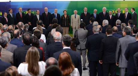 Cerimônia de posse aos novos ministros de Dilma em Brasília, nesta segunda-feira