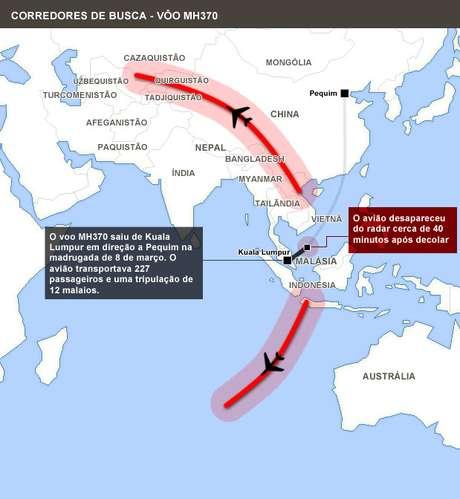 Mapa mostra rota de buscas pelo avião desaparecido há 10 dias
