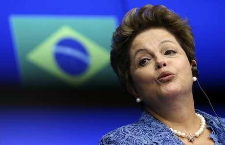 A presidente Dilma Rousseff concede entrevista coletiva durante a cúpula UE-Brasil em Bruxelas, na Bélgica, em fevereiro. 24/02/2014