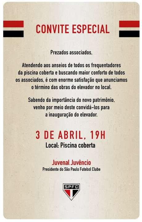 Convite para inauguração do elevador chegou por e-mail a sócios do São Paulo