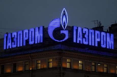 Logo da marca russa produtora de gás natural, Gazprom