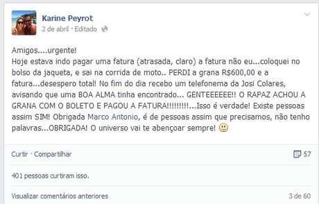 Karine postou uma mensagem de agradecimento a Marco Antonio no Facebook