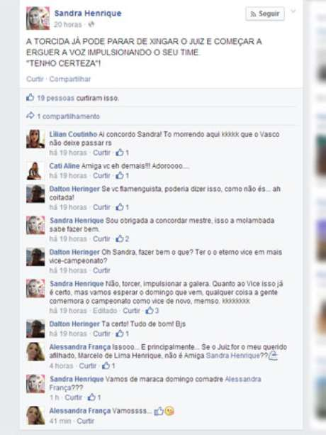 Mulher de árbitro carioca criticou Vasco no Facebook