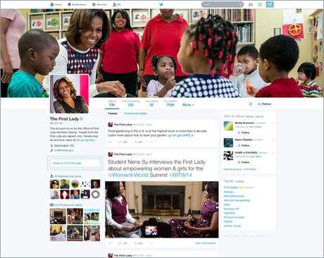Perfil da primeira-dama americana, Michelle Obama, já atualizado para o novo Twitter