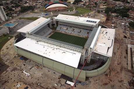 <p>Vista a&eacute;rea da Arena Pantanal, uma das sedes de partidas da Copa do Mundo</p>