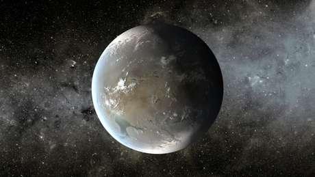 <p>Ilustração do exoplaneta Kepler-62 f, escoberto em abril de 2013 pela Nasa</p>