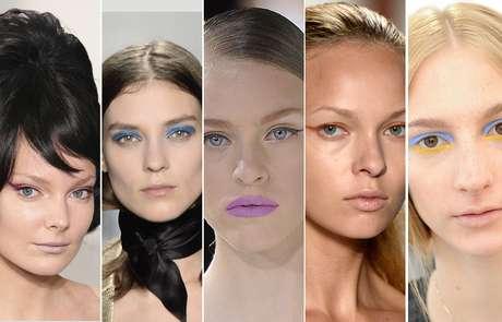 A tendência color block, que aproxima cores fortes e contrastantes, surge na maquiagem de olhos e lábios em vários desfiles da primavera-verão 2014 do hemisfério norte