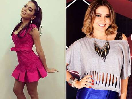 Anitta e Julie, participante do 'The Vocie Brasil'
