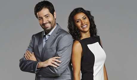 Os apresentadores Luiz Megale e Aline Midlej