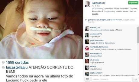 Luciano Huck compartilhou a causa em seu perfil no Instagram