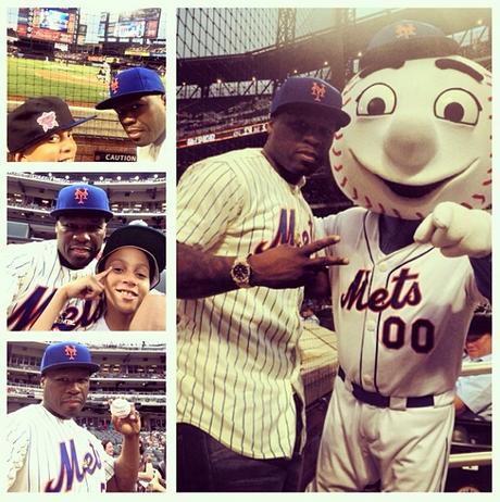 50 Cent posta foto durante jogo dos Mets