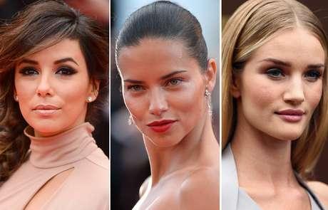 Eva Longoria, Adriana Lima e Rosie Huntington-Whiteley valorizam o olhar com a sobrancelha marcada e bem desenhada