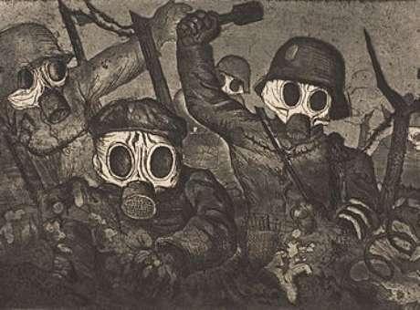 """""""Ofensiva de soldados com máscara contra gás"""", do pintor Otto Dix: retrato do horror da Primeira Grande Guerra"""