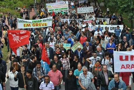 <p>Cena de protesto de funcion&aacute;rios, professores e alunos da USP (foto de arquivo)</p>