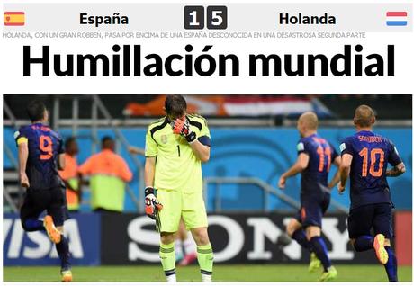 """Jornal Marca destacou como uma """"humilhação mundial"""""""