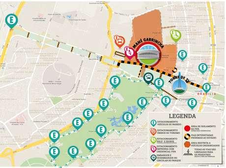 Mapa de acessibilidade para chegar ao Mané Garrincha