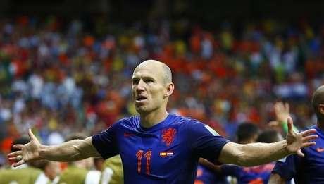 <p>Robben comemora um de seusgols contra aEspanha</p>