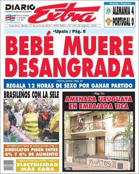 Ato de vandalismo em Montevidéu foi parar nas capas de jornais costarriquenhos