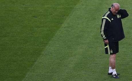 <p>Vicente Del Bosque pode alterar o esquema tático da Espanha</p>