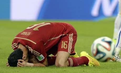 <p>Campeã em 2010, Espanha foi eliminada logo na segunda rodada da fase de grupos</p>