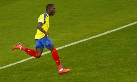 <p>Enner Valencia fez o terceiro gol do Equador na Copa, que também foi seu terceiro na competição</p>