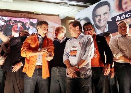 O candidato do PSDB à Presidência da República, Aécio Neves, participa em São Paulo da convenção nacional do Solidariedade, que formalizou apoio a sua candidatura