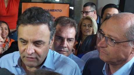 Aécio,  Paulinho e Alckmin na convenção estadual do Partido da Solidariedade, na Casa Portugal, centro de São Paulo