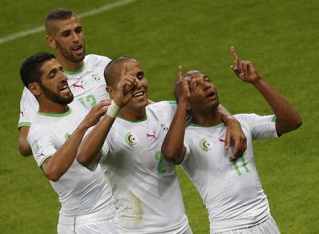 <p>Seleção da Argélia comemora o gol de Brahimi</p>