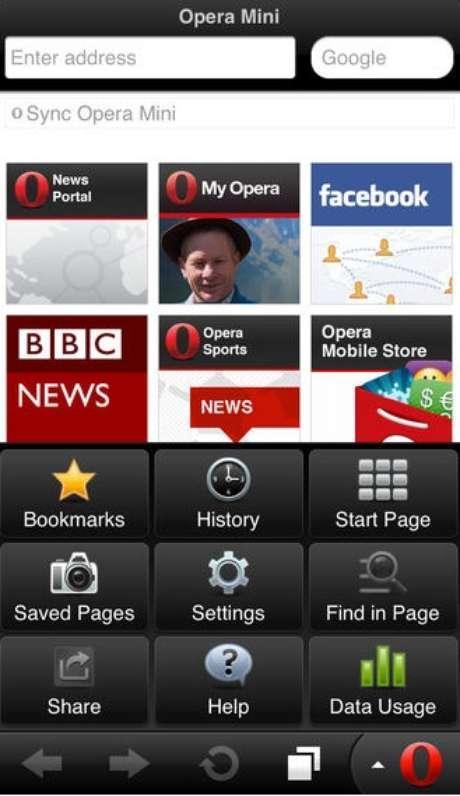 Navegador Opera Mini para tablets e celulares