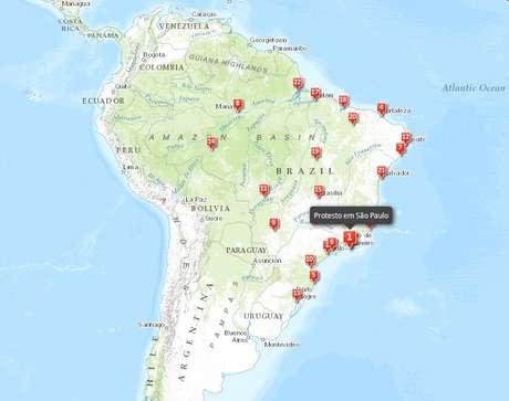 Um dos mapas do portal mostra os protestos que acontecem durante o Mundial