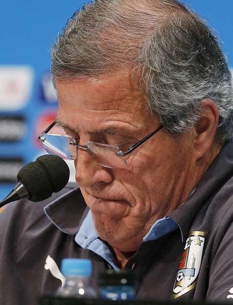 Técnico do Uruguai Oscar Tabárez durante entrevista coletiva no Rio de Janeiro. 27/06/2014