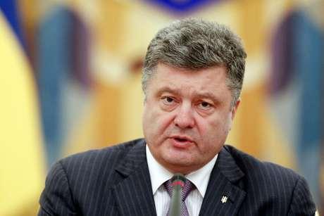 """<p>Petro Poroshenkodisseque seu país não está lutando uma guerra civil no leste e sim, enfrentando """"mercenários estrangeiros""""</p>"""