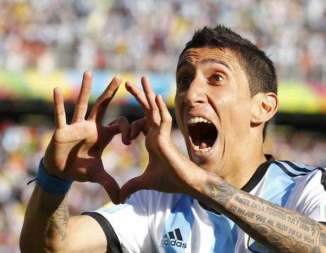 <p>Di Maria comemora gol contra a Suíça: Argentina nas quartas</p>