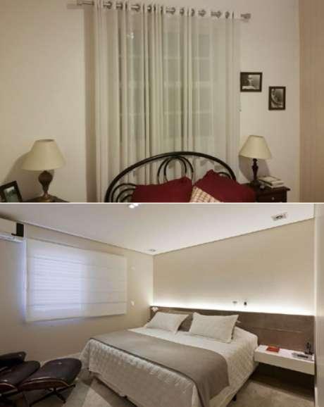 <p>Arquiteta explica que cortina curta é melhor opção para quarto da leitora (acima) porque janela fica atrás da cama</p>