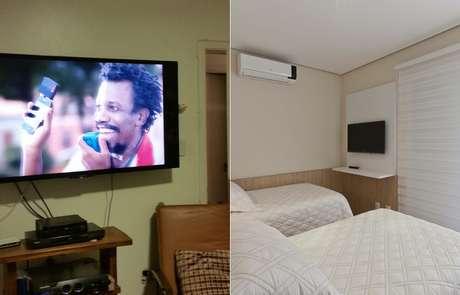 <p>Para deixar quarto mais clean, esconda fios da TV com painel</p>