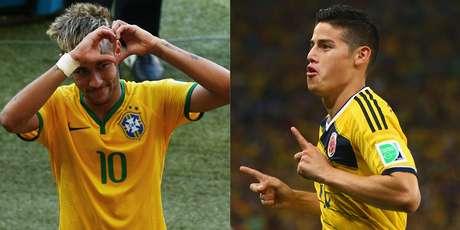 O craque brasileiro Neymar Jr. enfrenta o colombiano James Rodriguez na sexta-feira (4) em Fortaleza