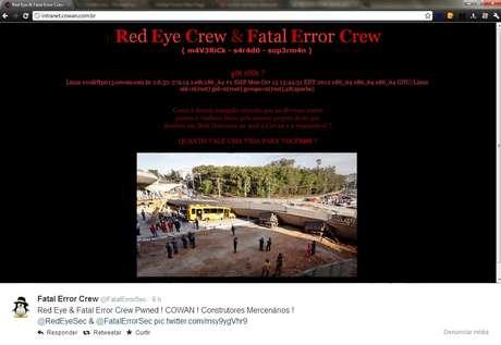 Site da construtora Cowan, construtora responsável pela obra do viaduto que desabou em Belo Horizonte (MG) e deixou dois mortos, foi invadido por hackers