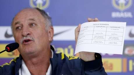 <p>Luiz Felipe Scolari apresenta cronograma de treinos; defesa feroz do trabalho</p>