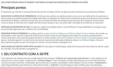 Trecho do termo de uso do Skype