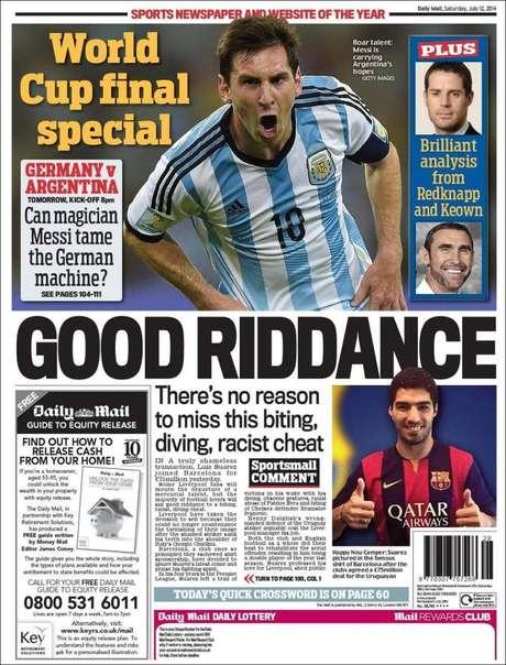 <p>Editorial do Daily Mail fez duras críticas ao atacante uruguaio e irritou imprensa catalã</p>