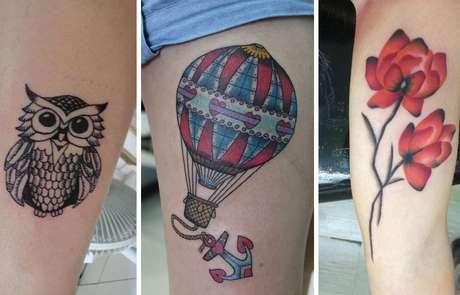 Animais, flores e desenhos coloridos estão entre as tatuagens delicadas mais estampadas no pele das mulheres