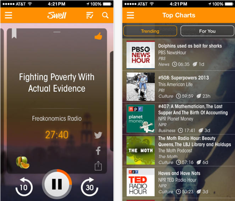 <p>Aplicativo Swell para iOS reúne diversos podcasts</p>