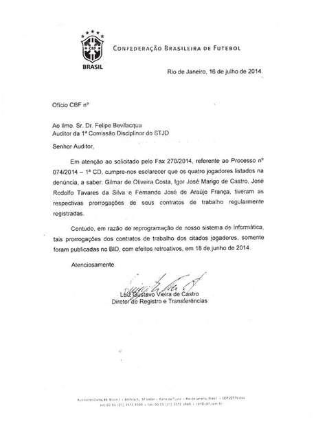 Ofício da CBF confirma registro retroativo de atletas