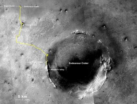 Imagem mostra rota feita pelo robô desde seu ponto de aterrissagem em Marte até sua localização no último dia 27