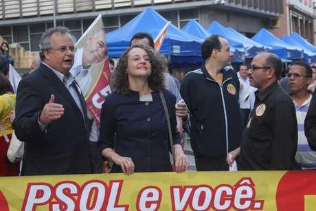 Candidata à Presidência, Luciana Genro, durante evento em Florianópolis