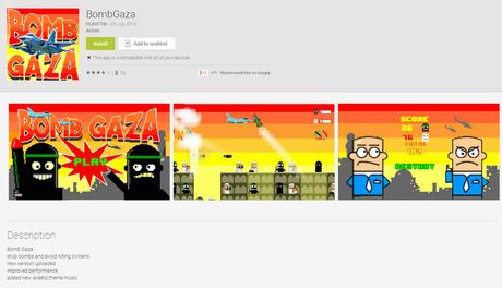 """<p>Até o momento mil pessoas baixaram o aplicativo """"Bomb Gaza""""</p>"""