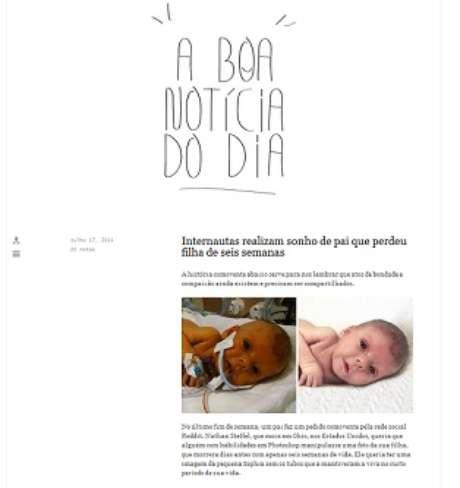 <p>Cansados de not&iacute;cias ruins, os publicit&aacute;rios Ana Clara Schneider e Ricardo Lima resolveram, no in&iacute;cio de 2012, criar um Tumblr denominado A Boa Not&iacute;cia do Dia, apenas com informa&ccedil;&otilde;es positivas do Brasil e do mundo</p>