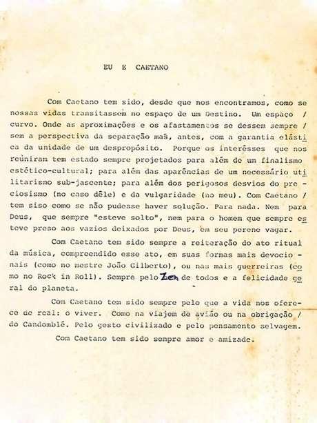 Texto publicado por Gilberto Gil sobre a relação com o amigo