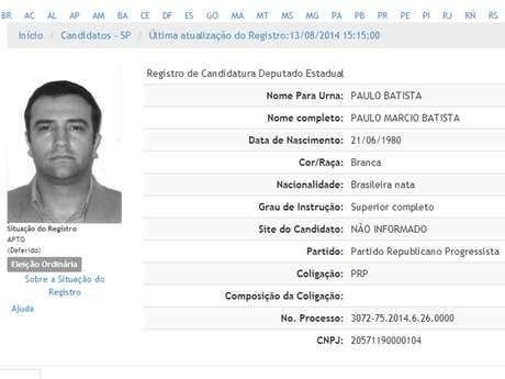 <p>Paulo Batista é candidato a deputado estadual em São Paulo</p>